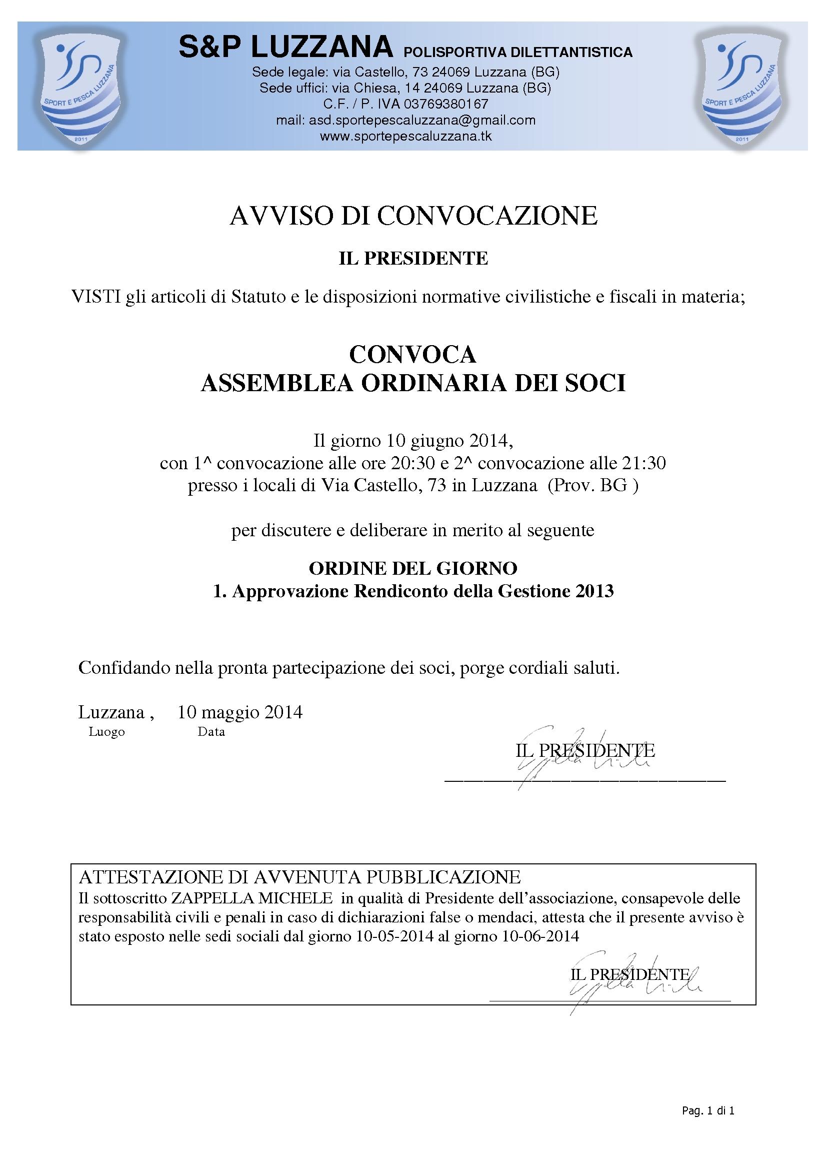 Convocazione assemblea ordinaria 10 GIUGNO 2014_1