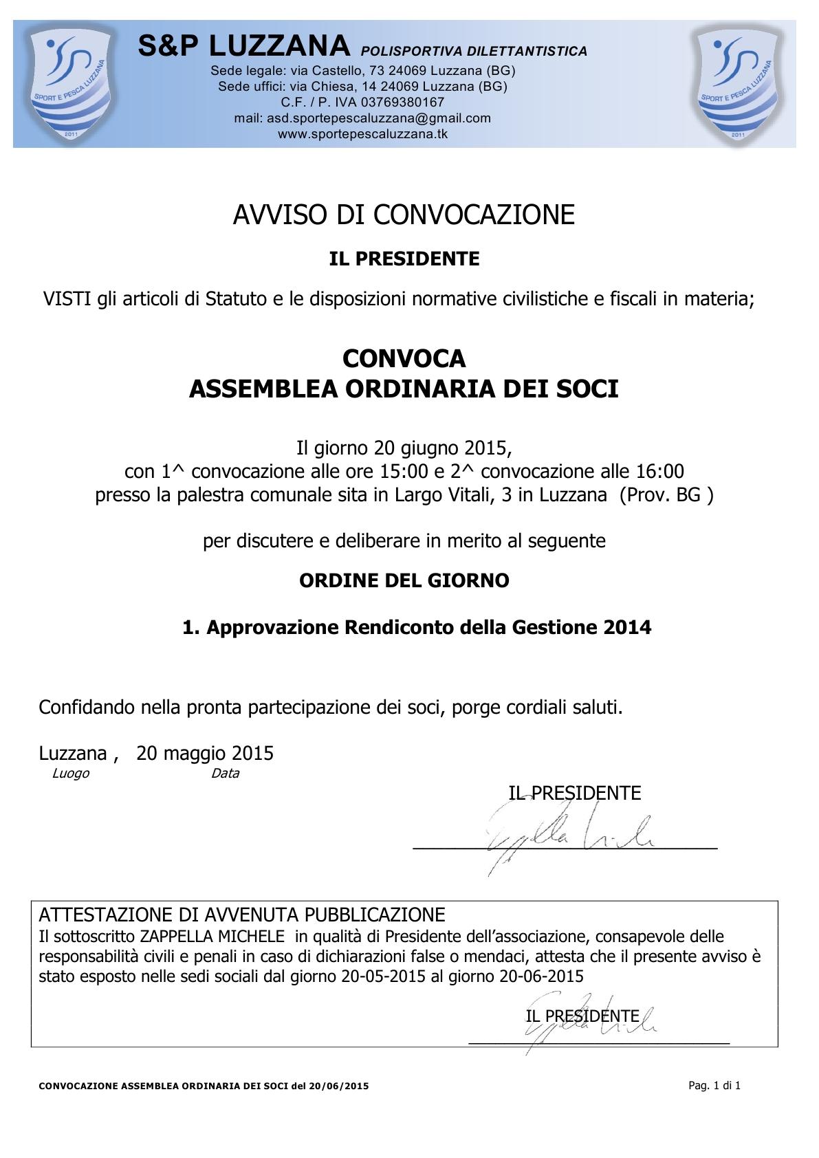 2015-06-20 Convocazione assemblea ordinaria dei soci