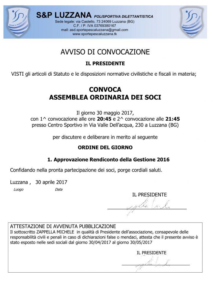 Convocazione Assemblea dei Soci del 30 maggio 2017