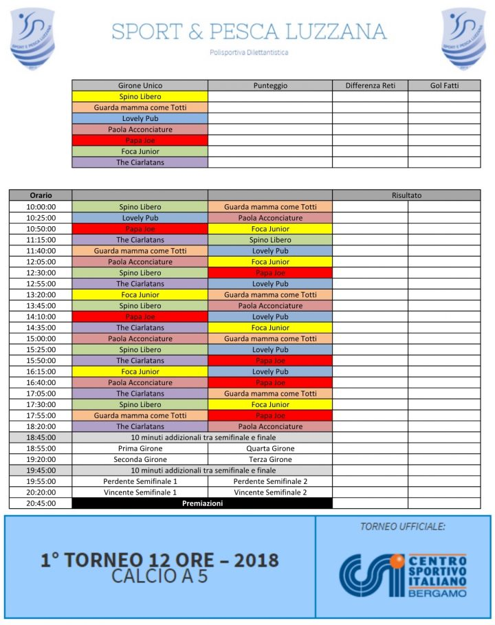 Calendario Partite Calcio.Calendario Partite 12 Ore Calcio A 5 2018 Sport
