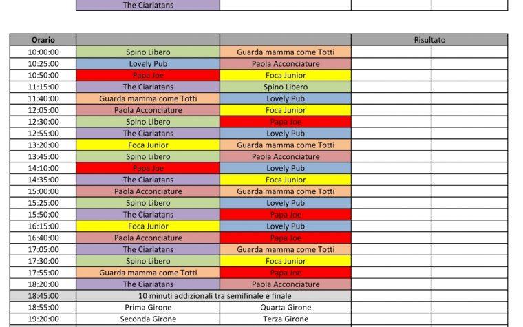 Calendario Partite – 12 ore Calcio a 5 – 2018